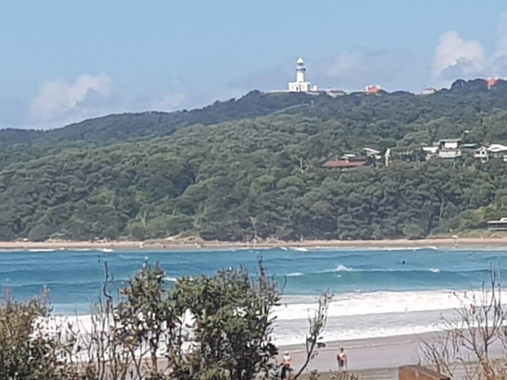 Beach overlooking Cape Byron Lighthouse